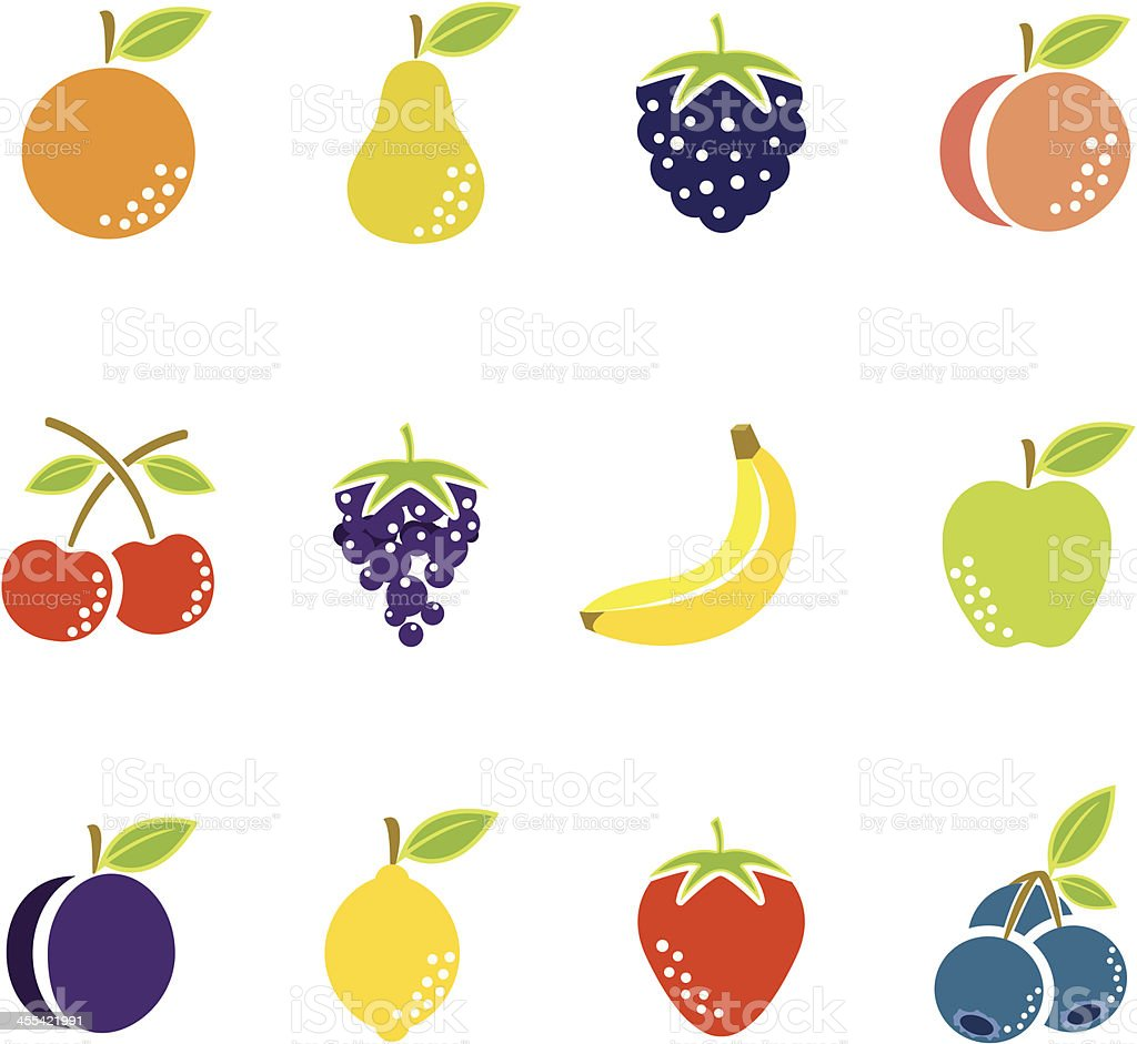 Simple Fruit Icons vector art illustration