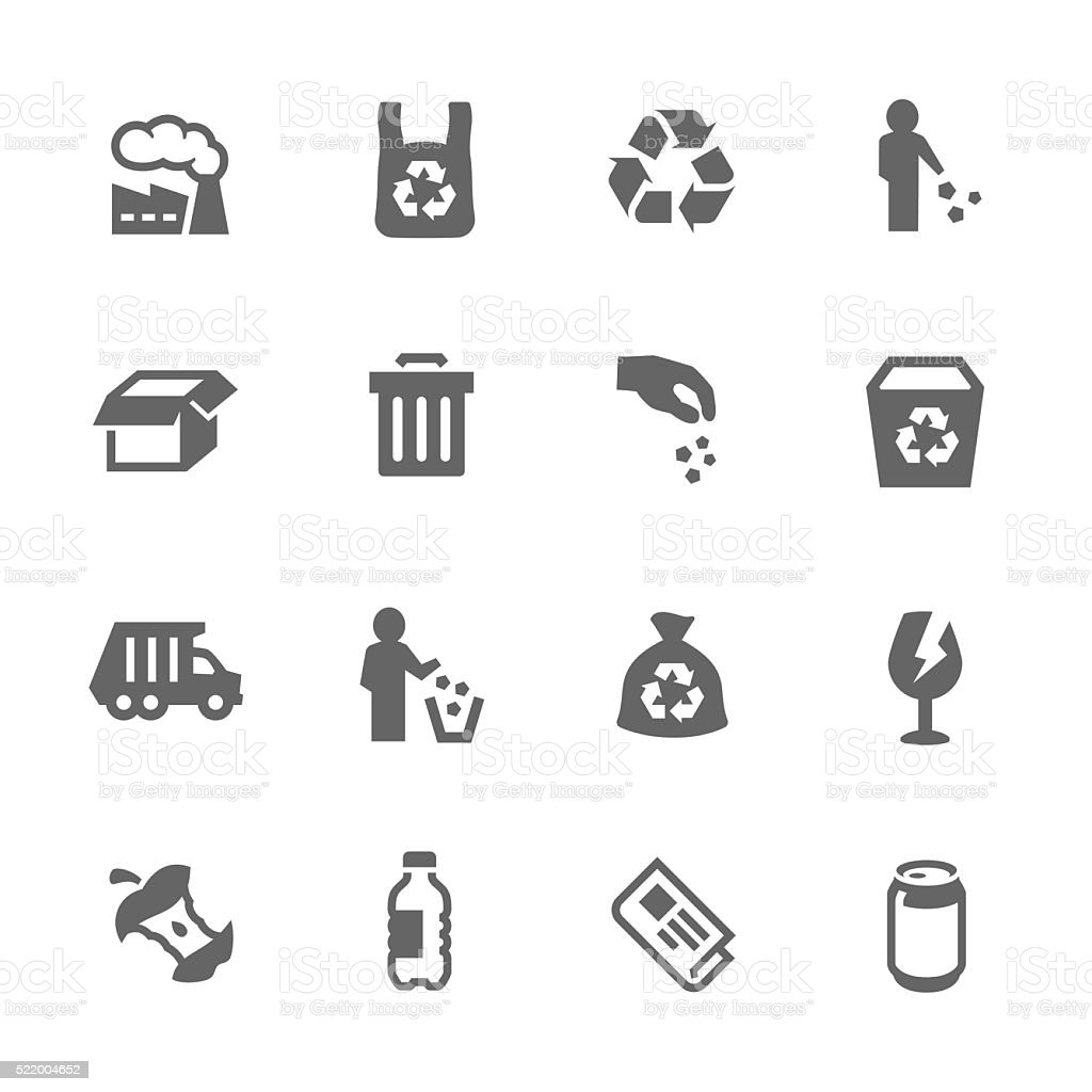 Simple Garbage Icons vector art illustration