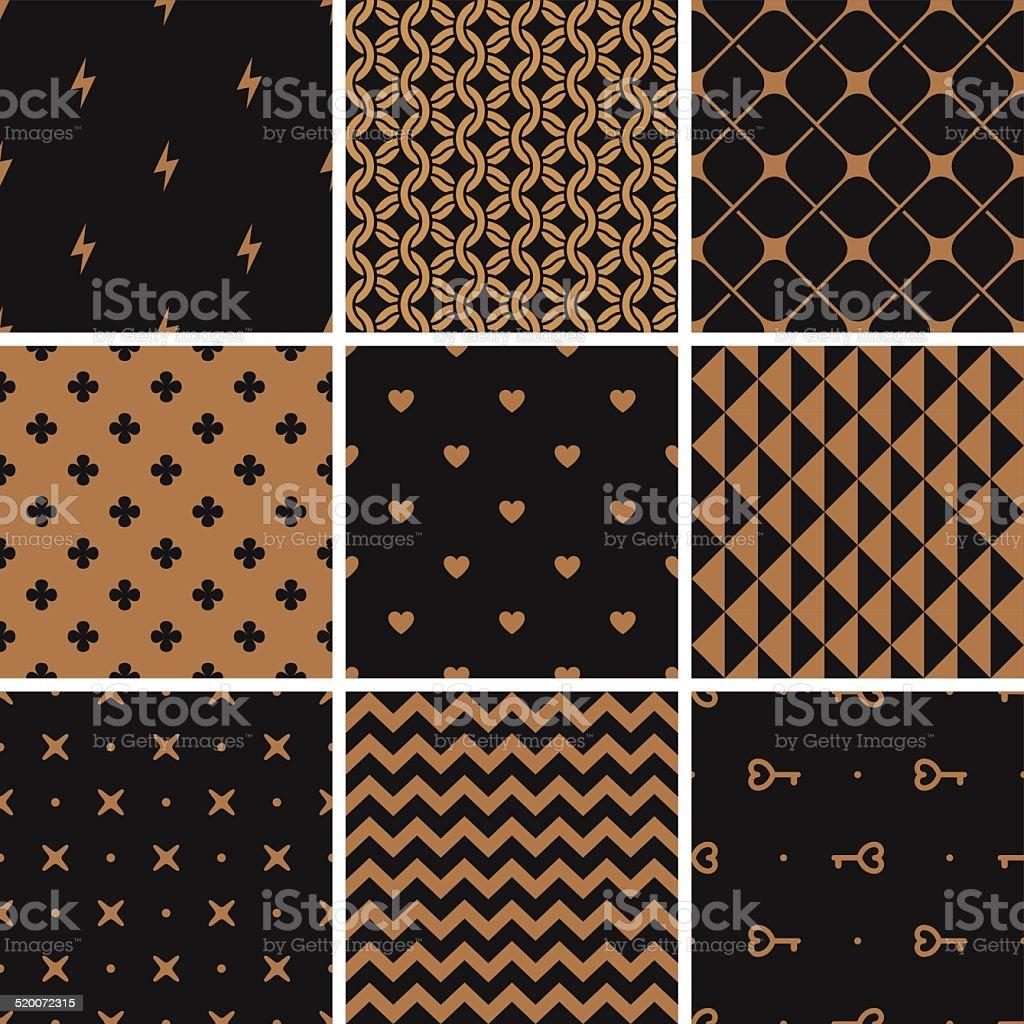 Simple geometric pattern set. Armor, zig-zag, vector art illustration