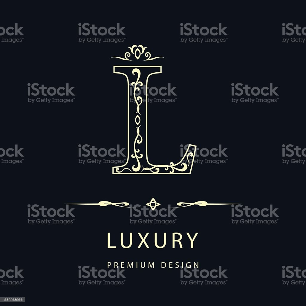Simple  graceful floral monogram design template. Elegant Letter L. Vector vector art illustration