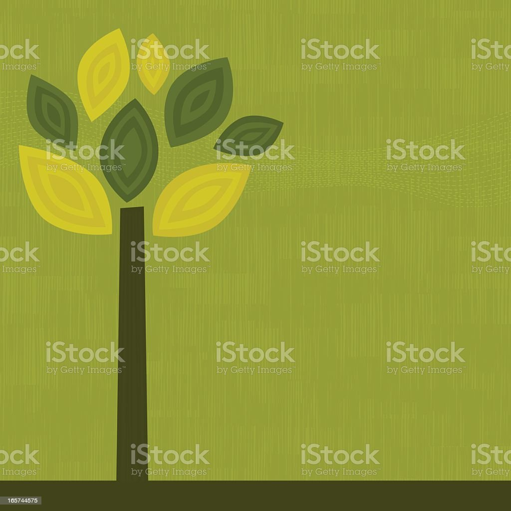 Simple graphic of a green tree on a green background royalty-free stock vector art