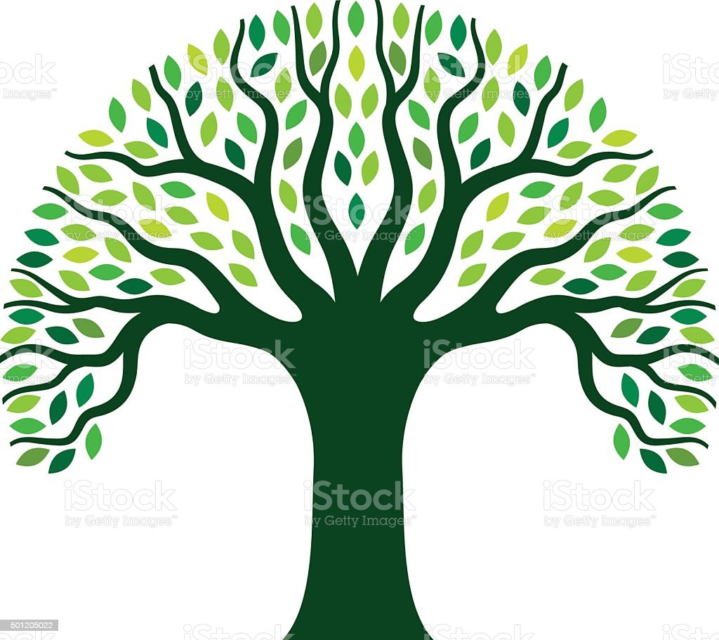 Simple graphic tree illustration vector art illustration