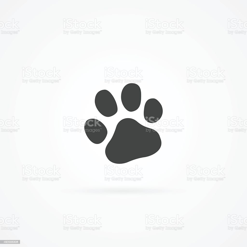 Simple gray icon of paw. vector art illustration