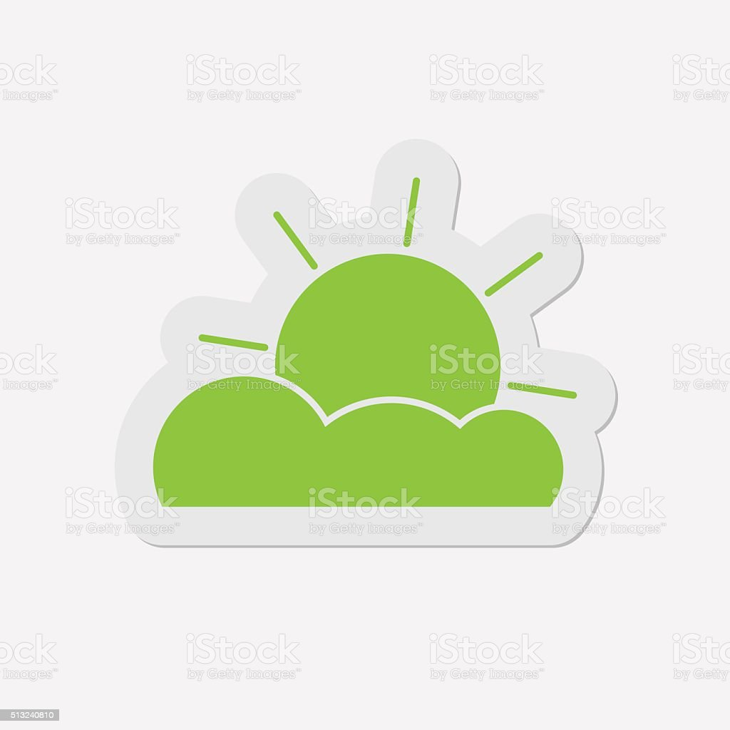 simple green icon - partly cloudy vector art illustration
