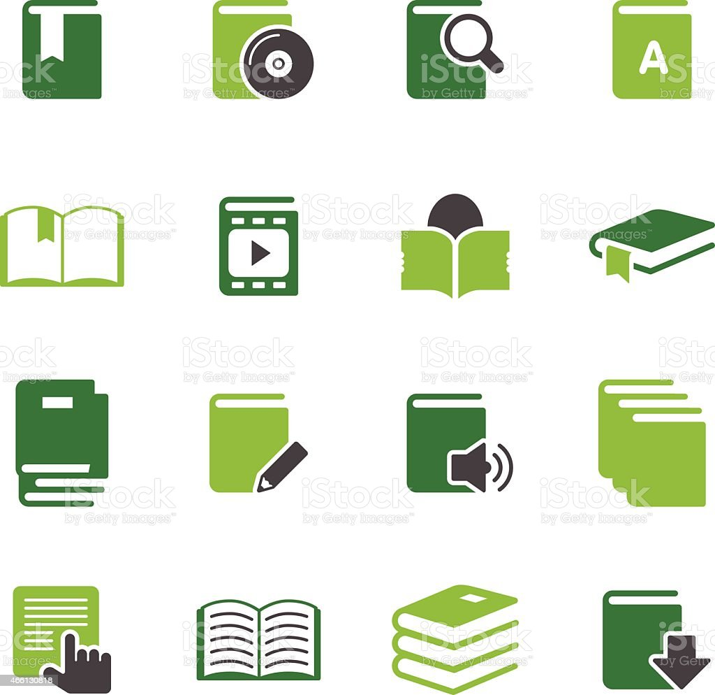Simple green icons of books on white background vector art illustration
