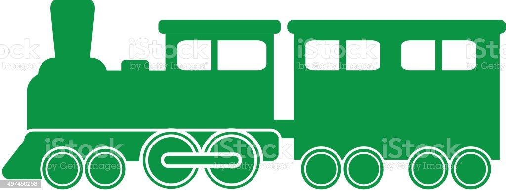 Simple green Royalty free Train icon vector art illustration
