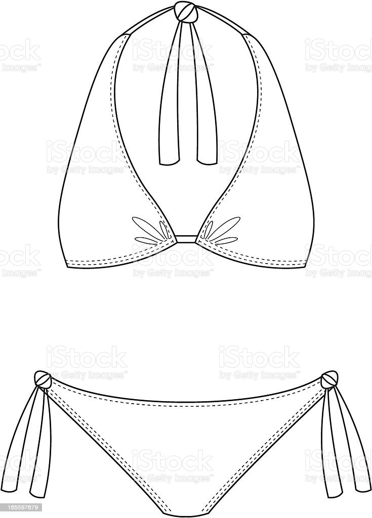 Simple Halter Neck Bikini royalty-free stock vector art