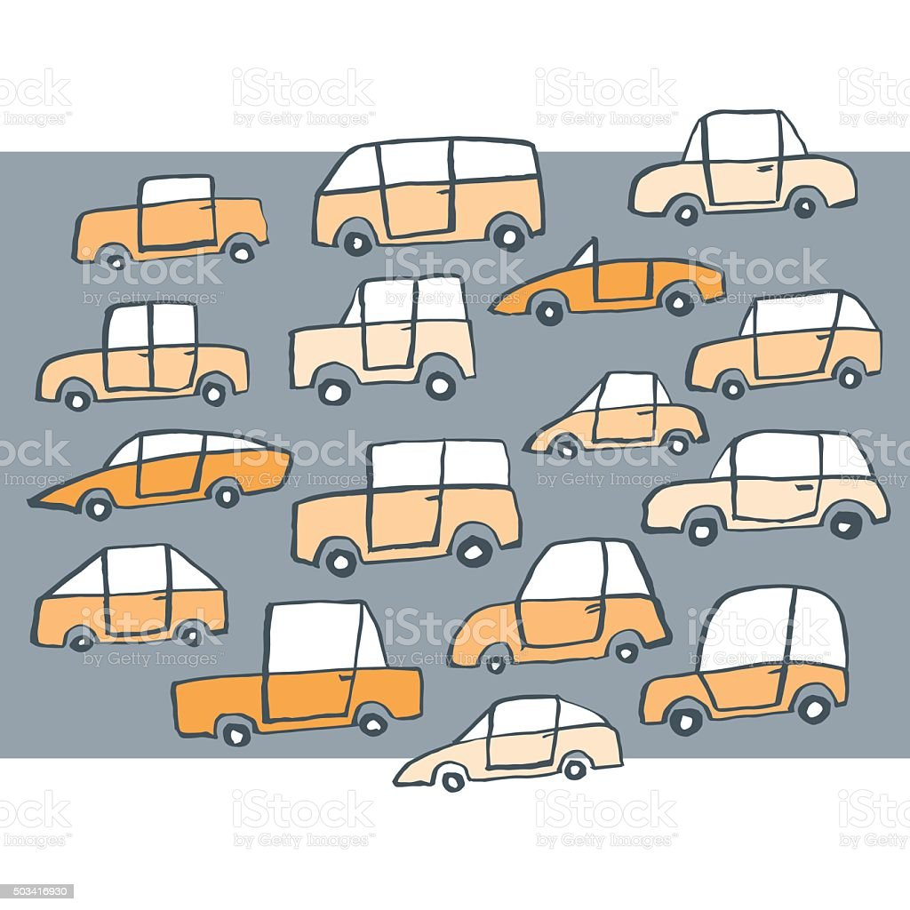 Simple hand drawn cars vector art illustration