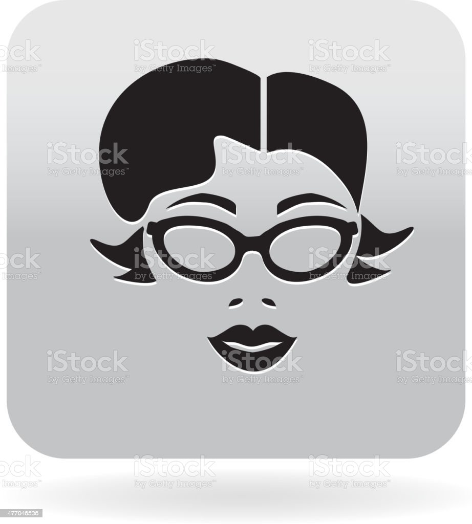 Simple Hipster woman with glasses icon vector art illustration