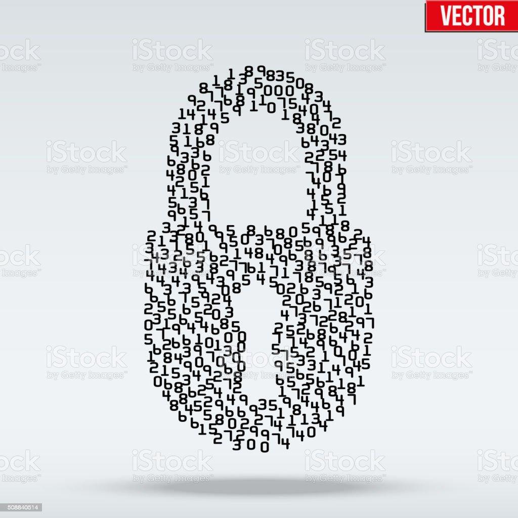 Simple icon of digital lock vector art illustration