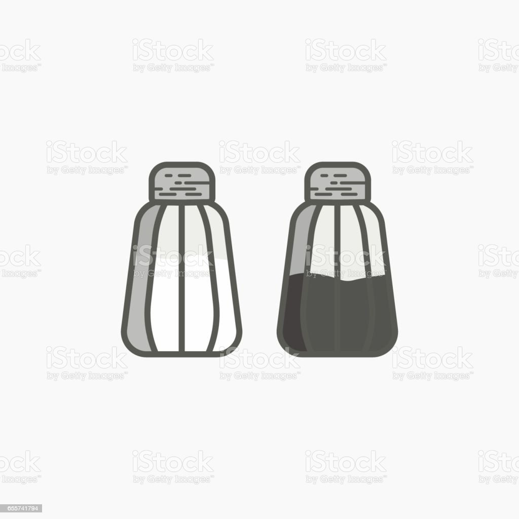 Simple icon of salt cellar and pepper pot vector art illustration