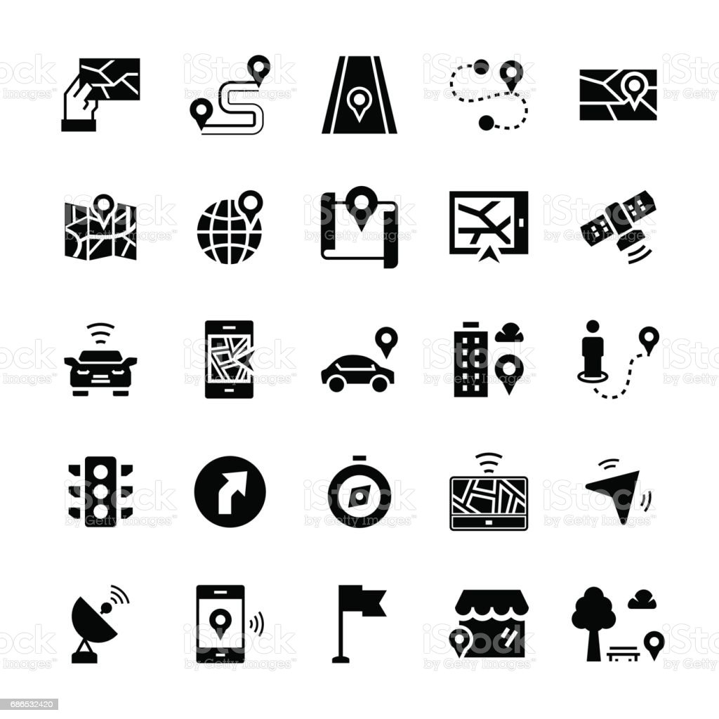 Simple icon set of navigation items in flat style. Vector symbols. vector art illustration