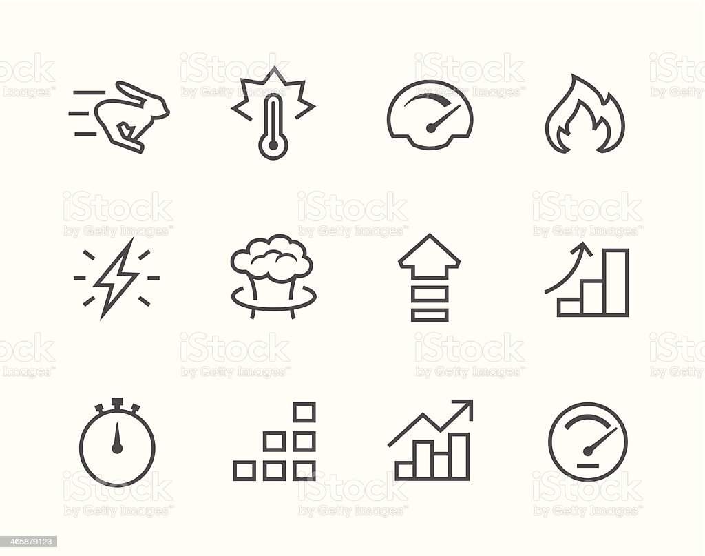 Simple Icon set related to Performance vector art illustration
