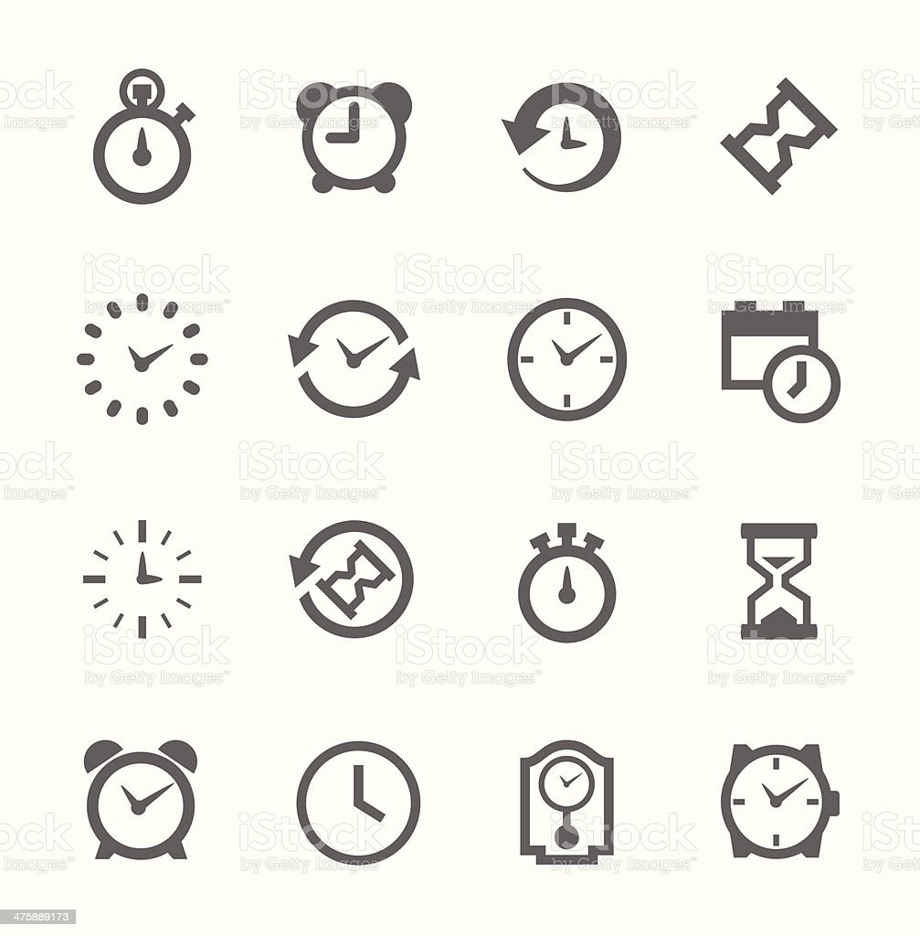 Simple Icon set related to Time vector art illustration