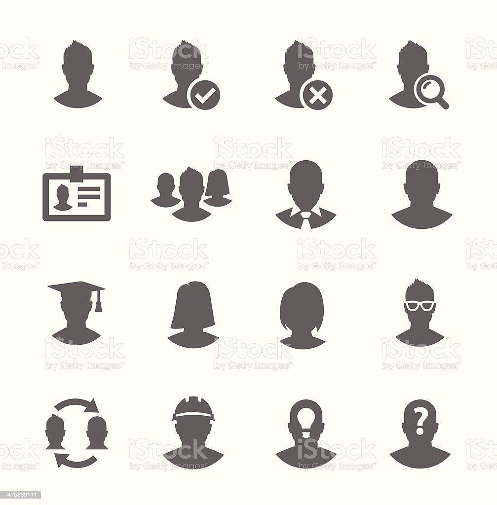 Simple Icon set related to Users vector art illustration