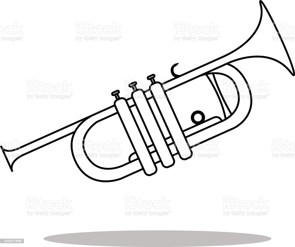 Simple icon Trumpet Vector. musical instrument silhouette vector art illustration