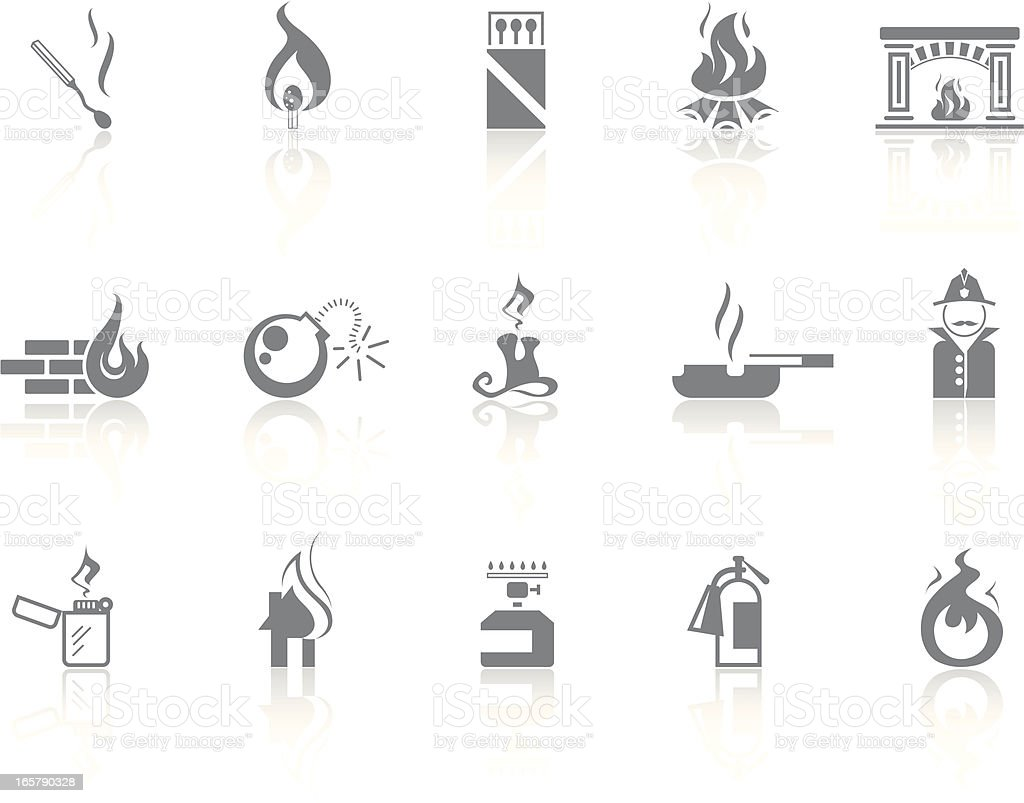 Simple icons – Fire vector art illustration