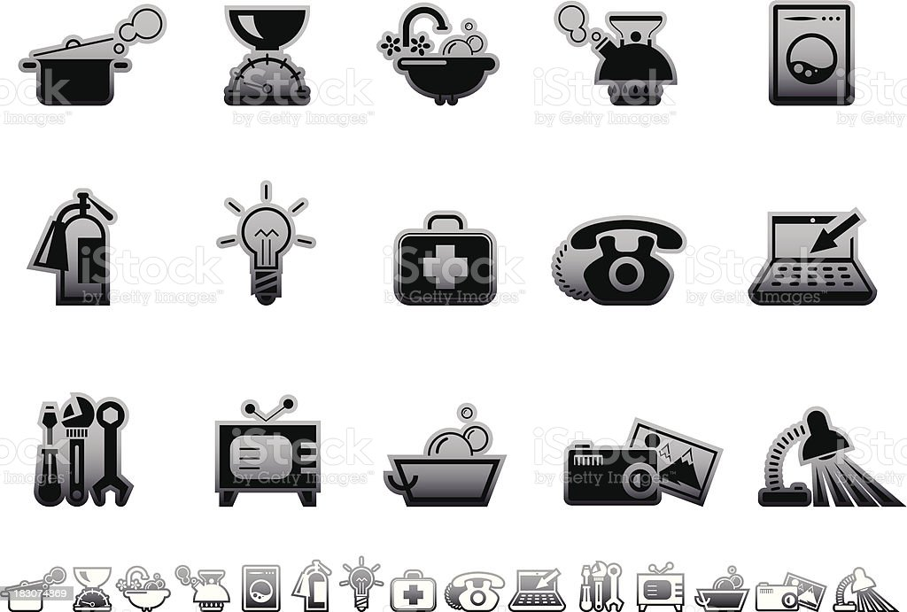 Simple icons – Home equipment vector art illustration