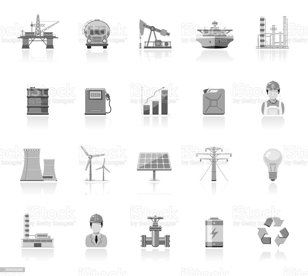 Simple Icons - Industry And Energy royalty-free stock vector art