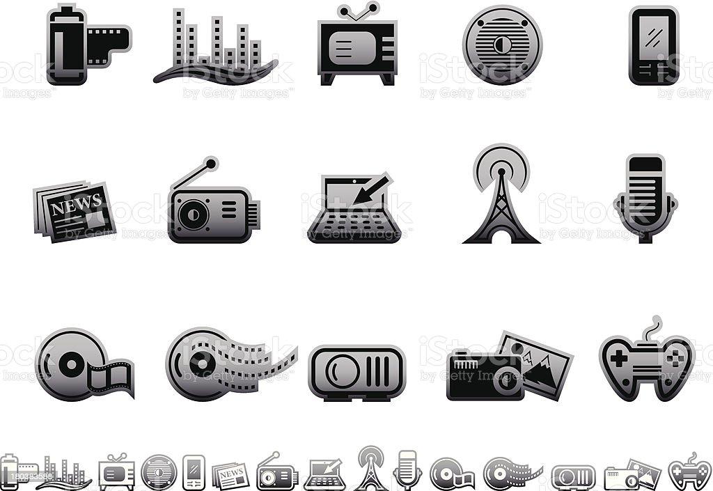Simple icons – Multimedia vector art illustration