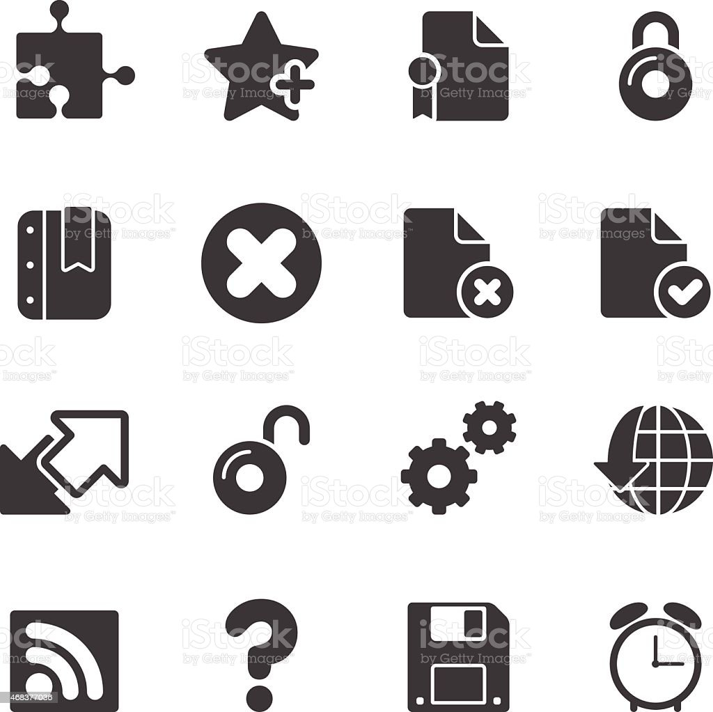 Simple icons of office network symbols in black and white vector art illustration