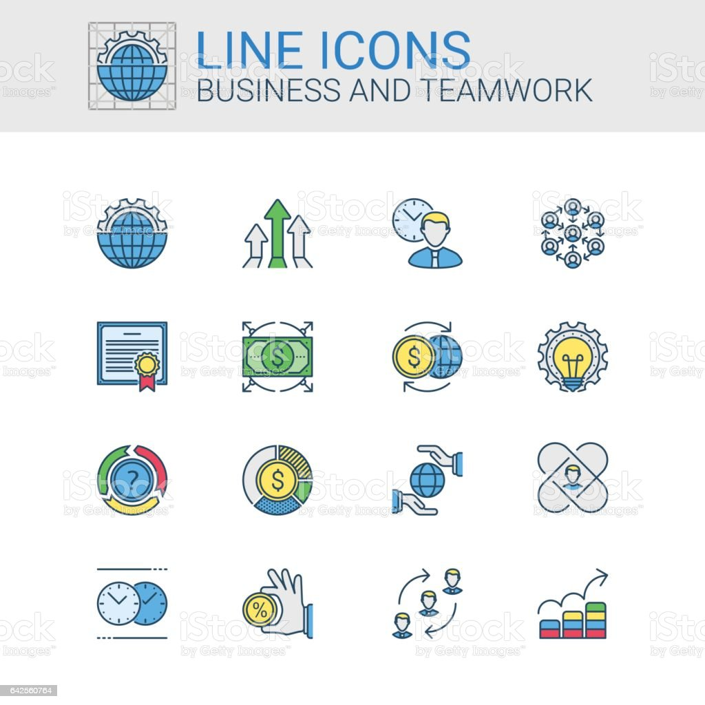 Simple icons set of Business and Teamwork in line style vector art illustration