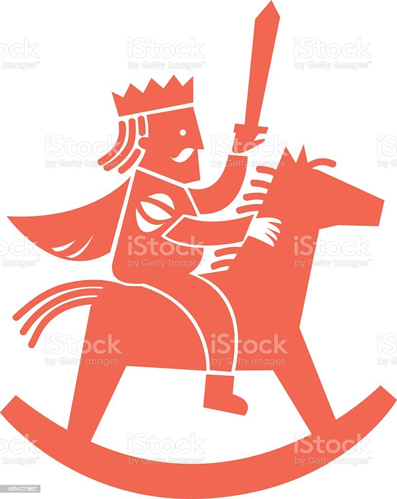 Simple illustration. King on horse rocking vector art illustration