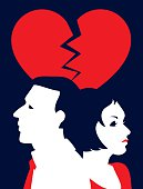 Simple Illustration Man and Woman Under Broken Red Heart