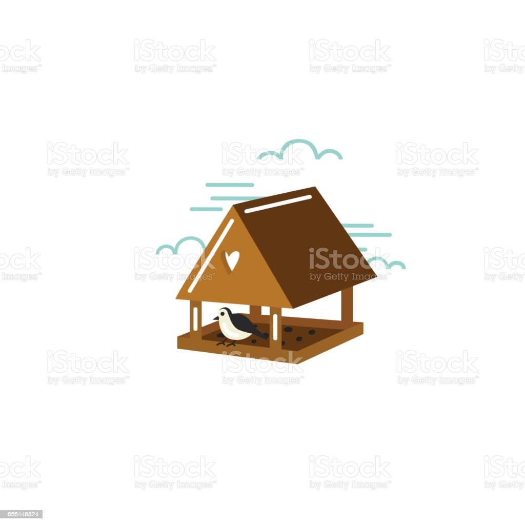 Simple illustration of birdhouse with bird in flat style. Vector. vector art illustration