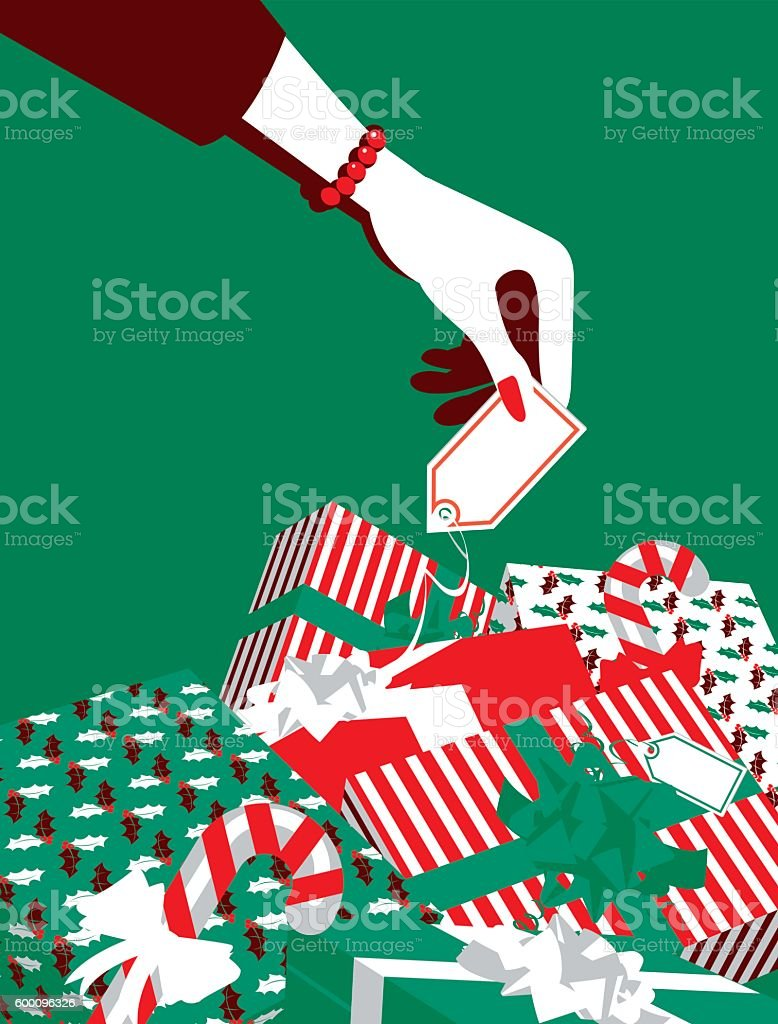 Simple Illustration Woman's Hand and Pile of Gifts vector art illustration