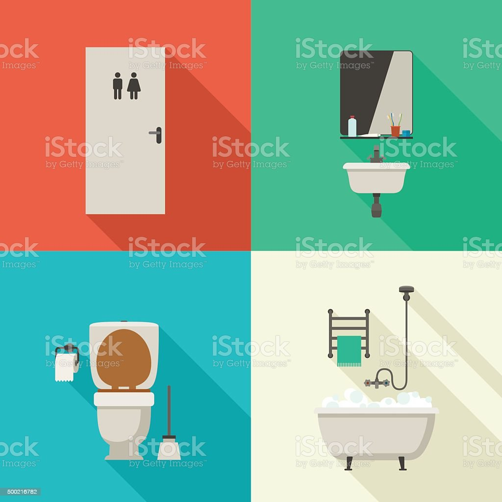 Simple illustrations of bathroom. vector art illustration