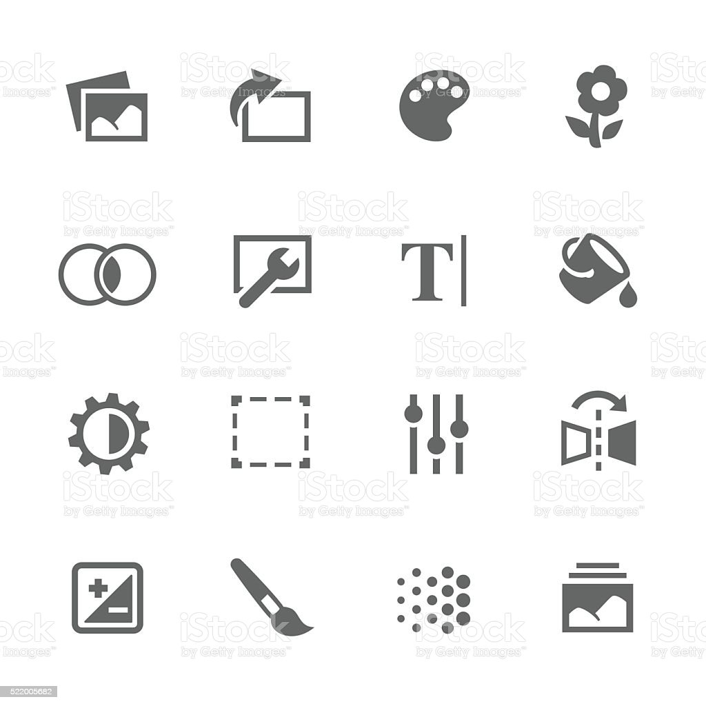 Simple Image Settings Icons vector art illustration