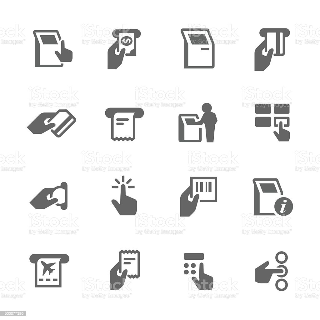 Simple Kiosk Terminal Icons vector art illustration