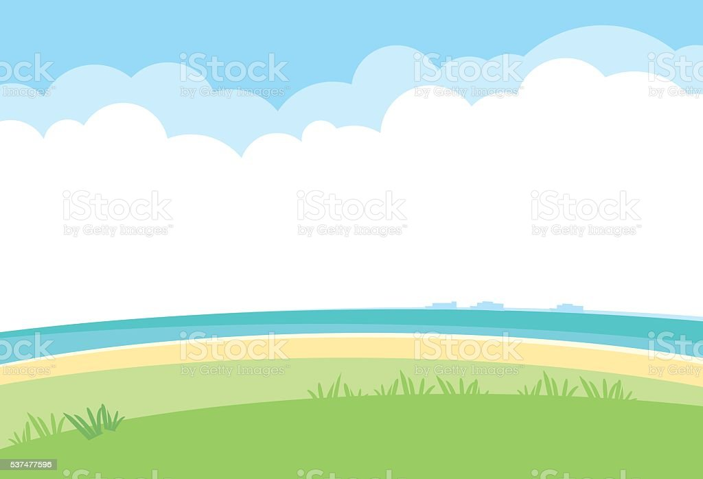 simple landscape vector background. nature template with sea, gr vector art illustration