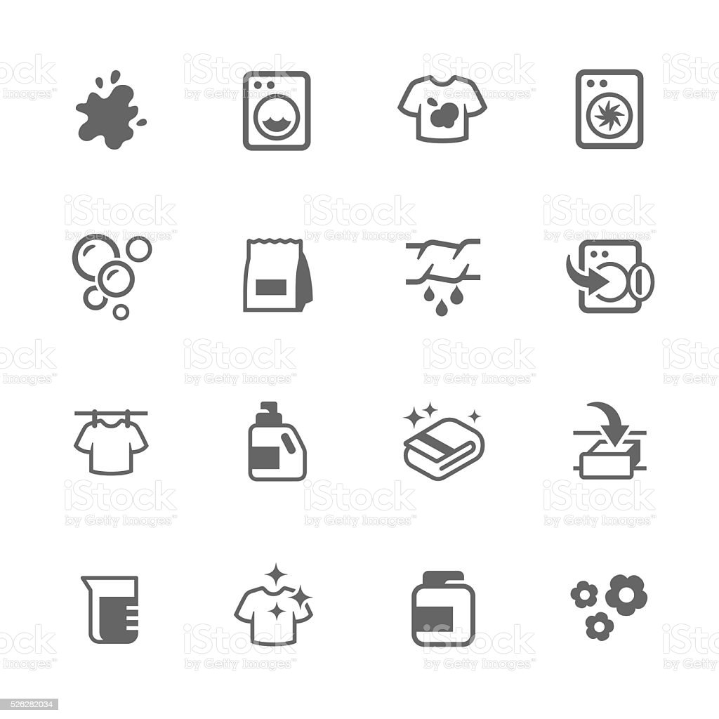 Simple Laundry Icons vector art illustration