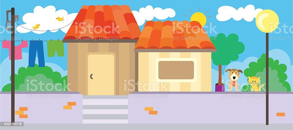 Simple life in the countryside vector art illustration