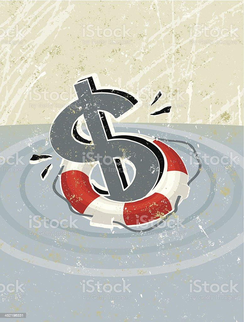 Simple Life Ring Saving a Dollar Symbol royalty-free stock vector art