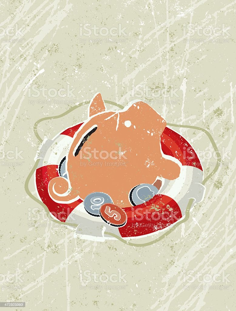 Simple Life Ring Saving a Piggy Bank and Coins royalty-free stock vector art