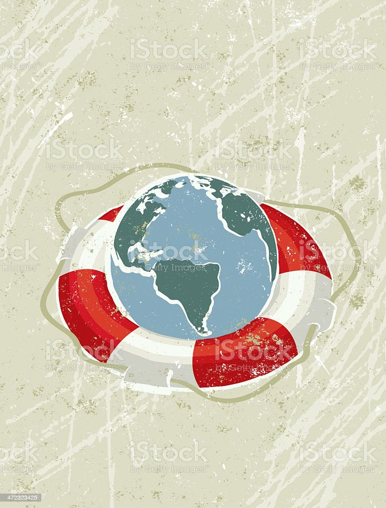 Simple Life Ring Saving a World Map Globe vector art illustration