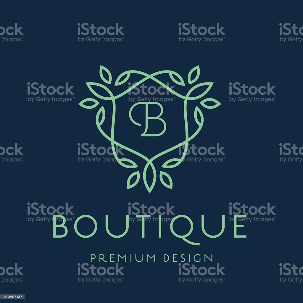 Simple line art monogram logo design vector art illustration