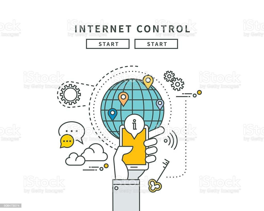 simple line flat design of internet control, modern vector illustration vector art illustration