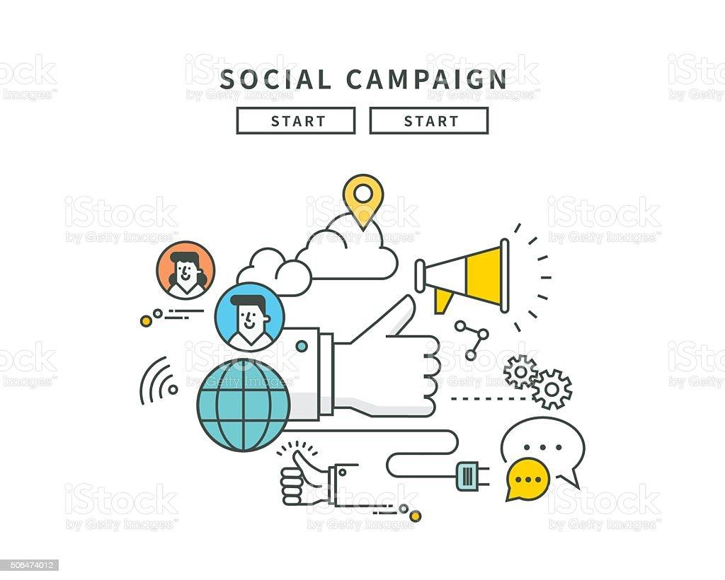 simple line flat design of social campaign, modern vector illustration vector art illustration