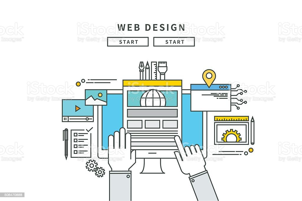 simple line flat design of web design, modern vector illustration vector art illustration