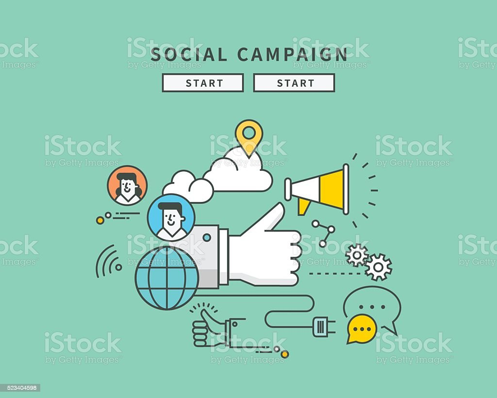 simple line flat design of web social campaign vector art illustration