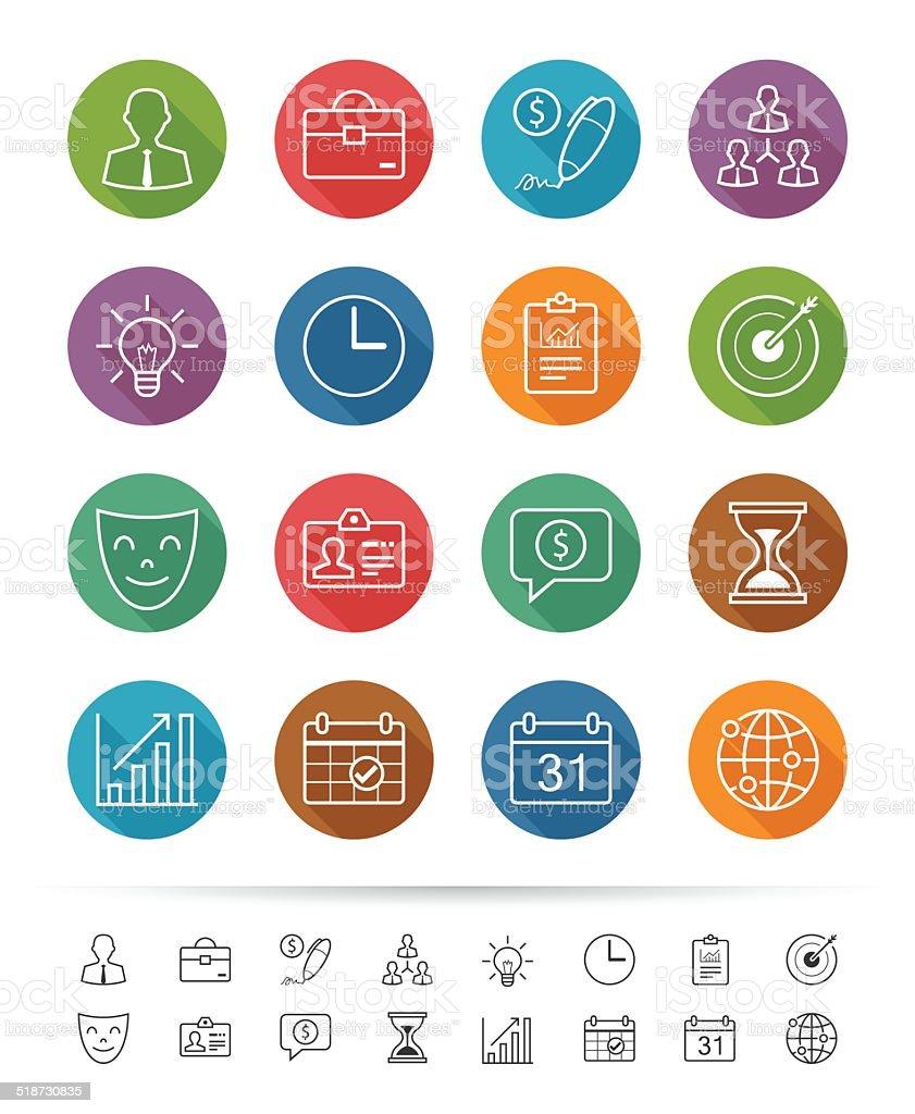 Simple line style : Business management icons set vector art illustration