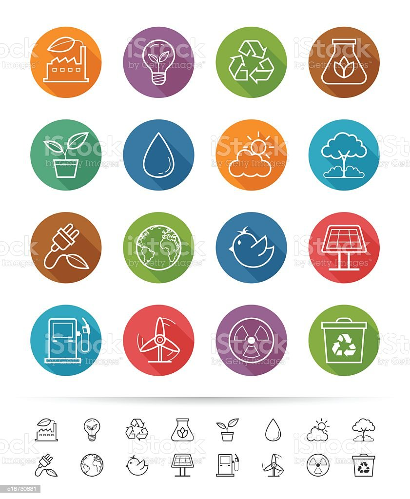 Simple line style : Eco Energy icons set vector art illustration
