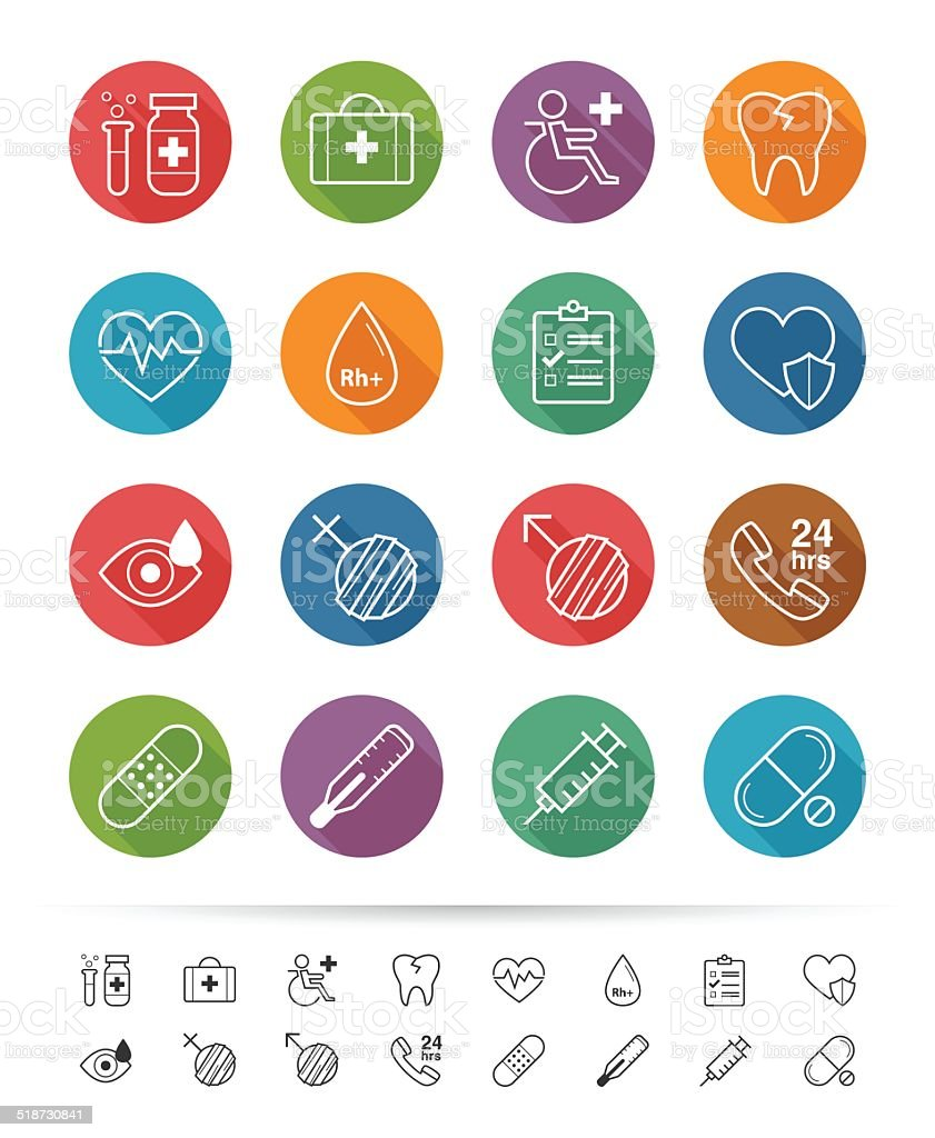 Simple line style : Health-care and medical icons set vector art illustration