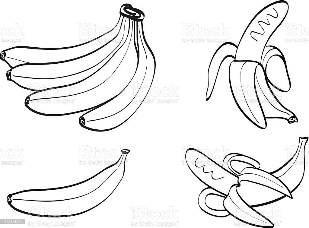 simple lines banana vector art illustration