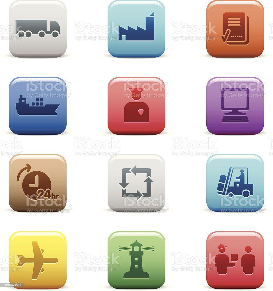 Simple Logistics Icons: Color Collection Series royalty-free stock vector art