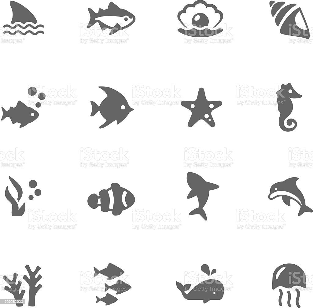 Simple Marine Life Icons vector art illustration
